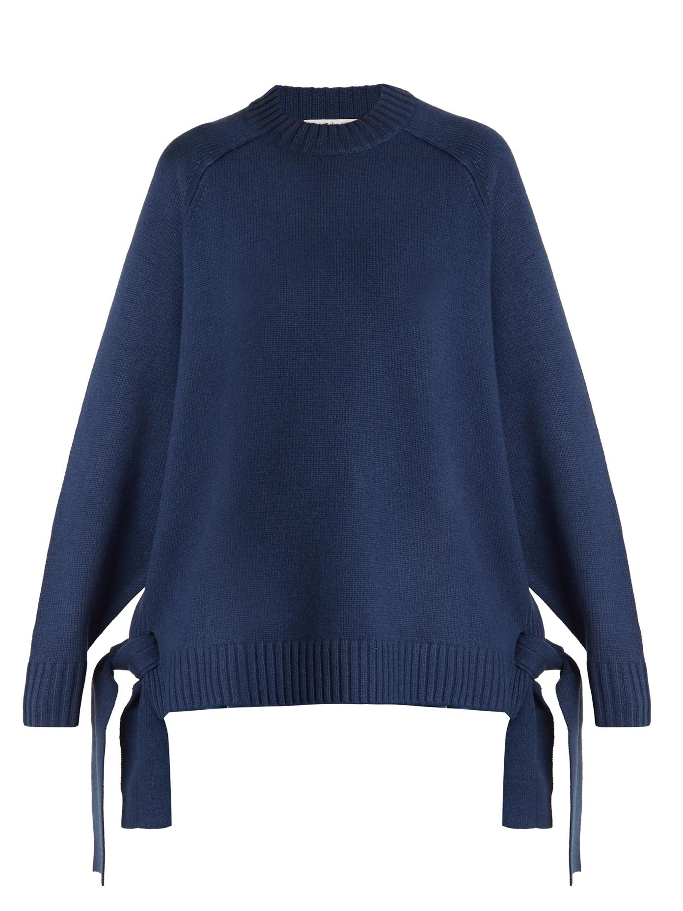 Tibi Side-Tie Cashmere Sweater In Blue