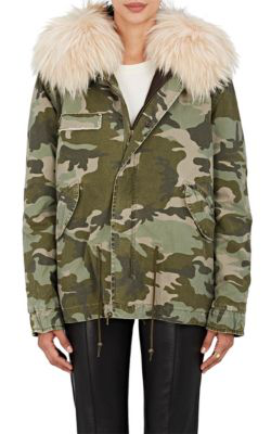 Mr & Mrs Italy Fur-Trimmed Camouflage Cotton Mini-Parka In Dk. Green