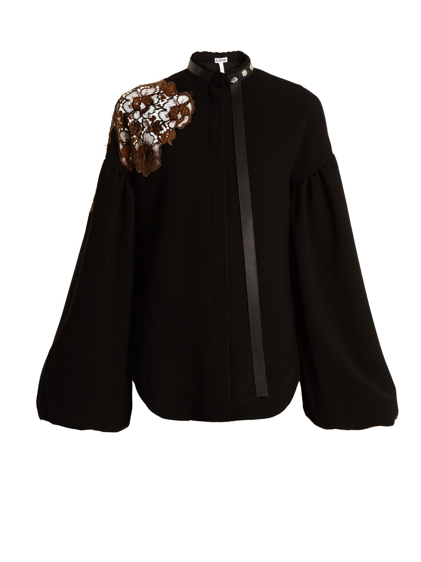 Loewe Floral-Lace Embellished Bell-Sleeved Crepe Top In Black