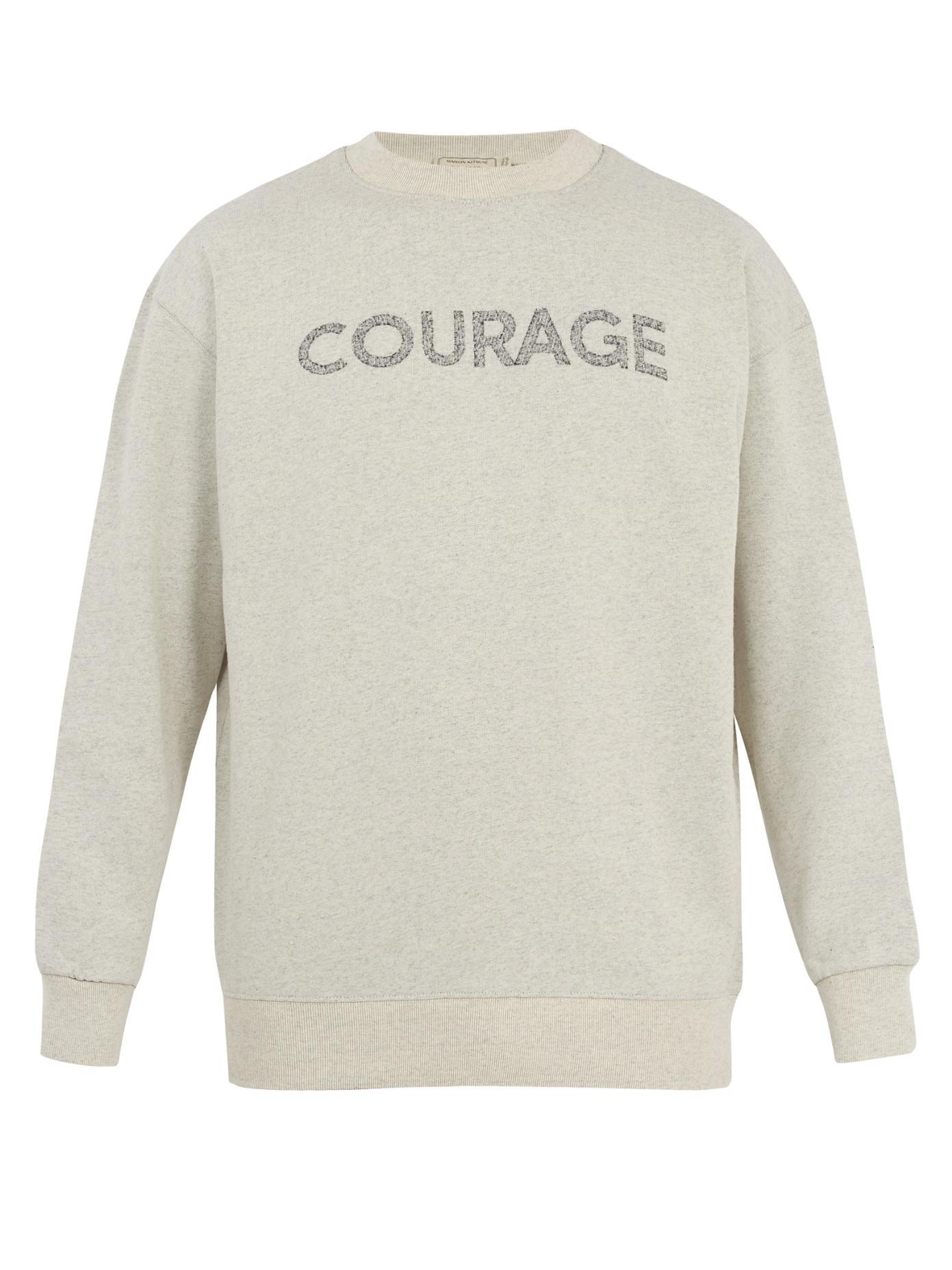 Maison KitsunÉ Courage-Print Cotton-Jersey Sweatshirt In Light Grey