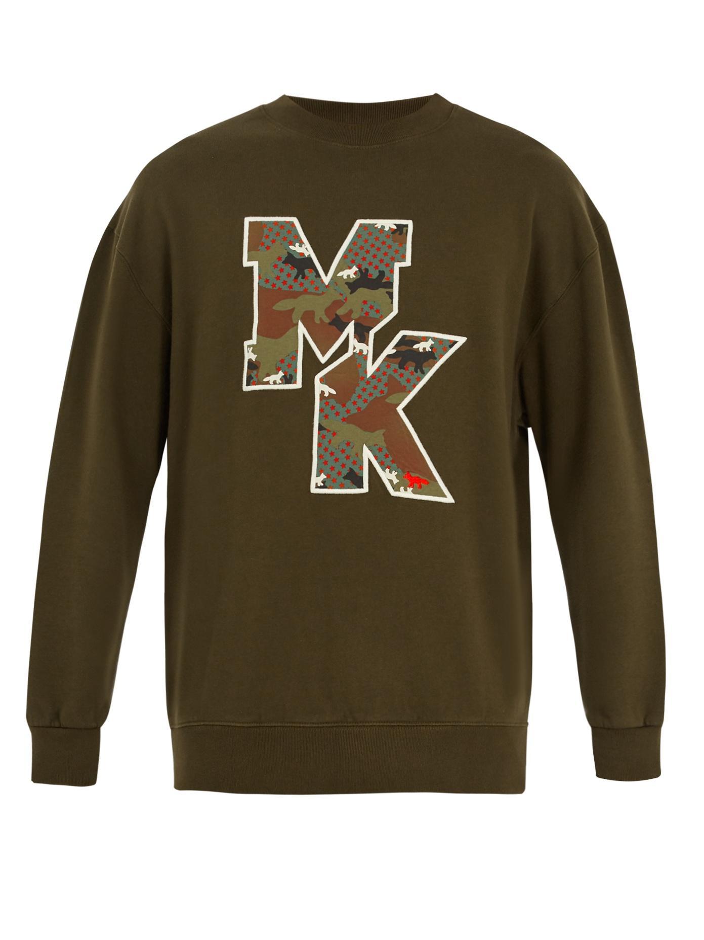 Maison KitsunÉ Camouflage Fox-Print Logo Cotton Sweatshirt In Khaki