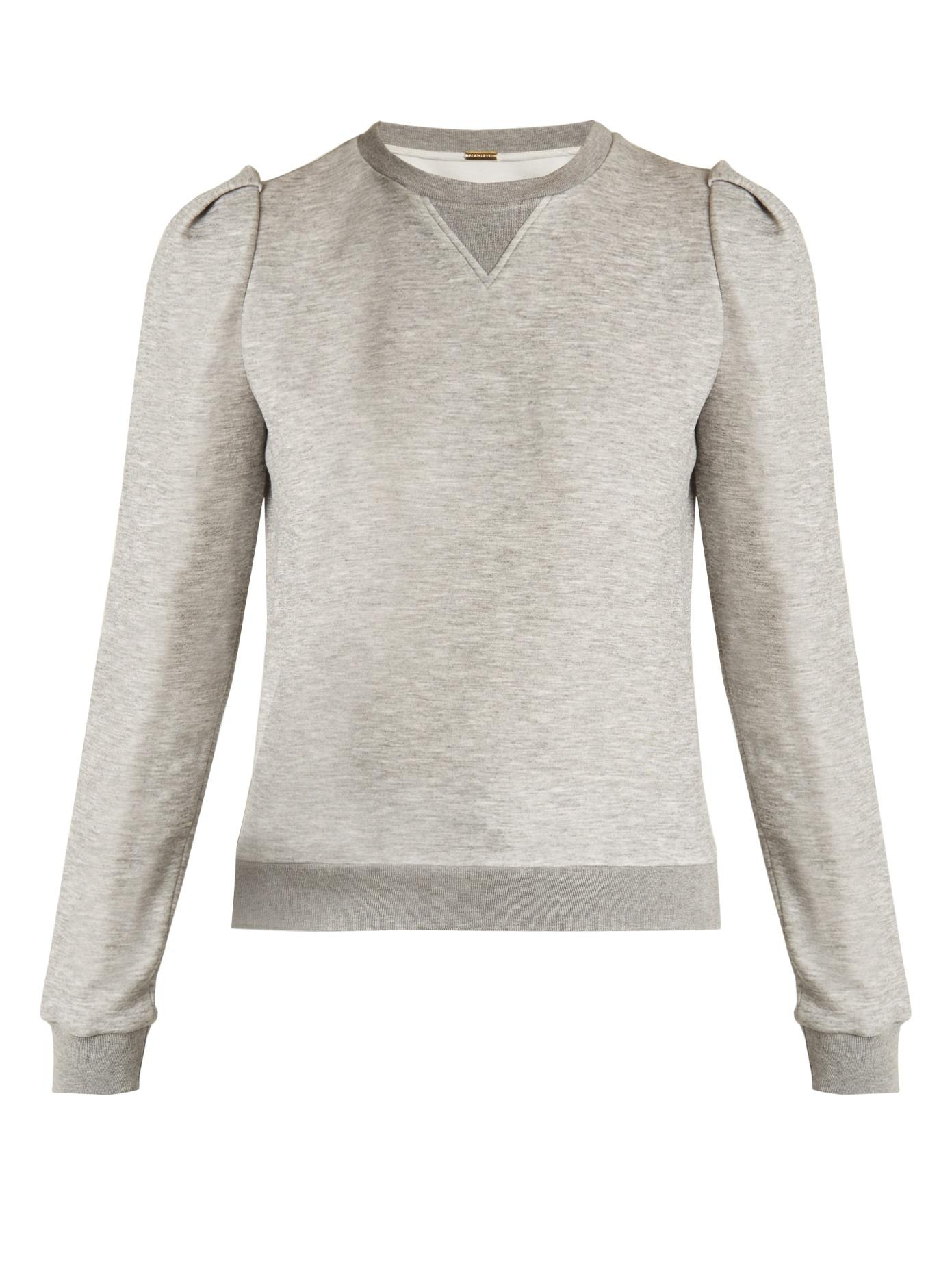 Adam Lippes Pleated-Shoulder Jersey Sweatshirt In Light Grey