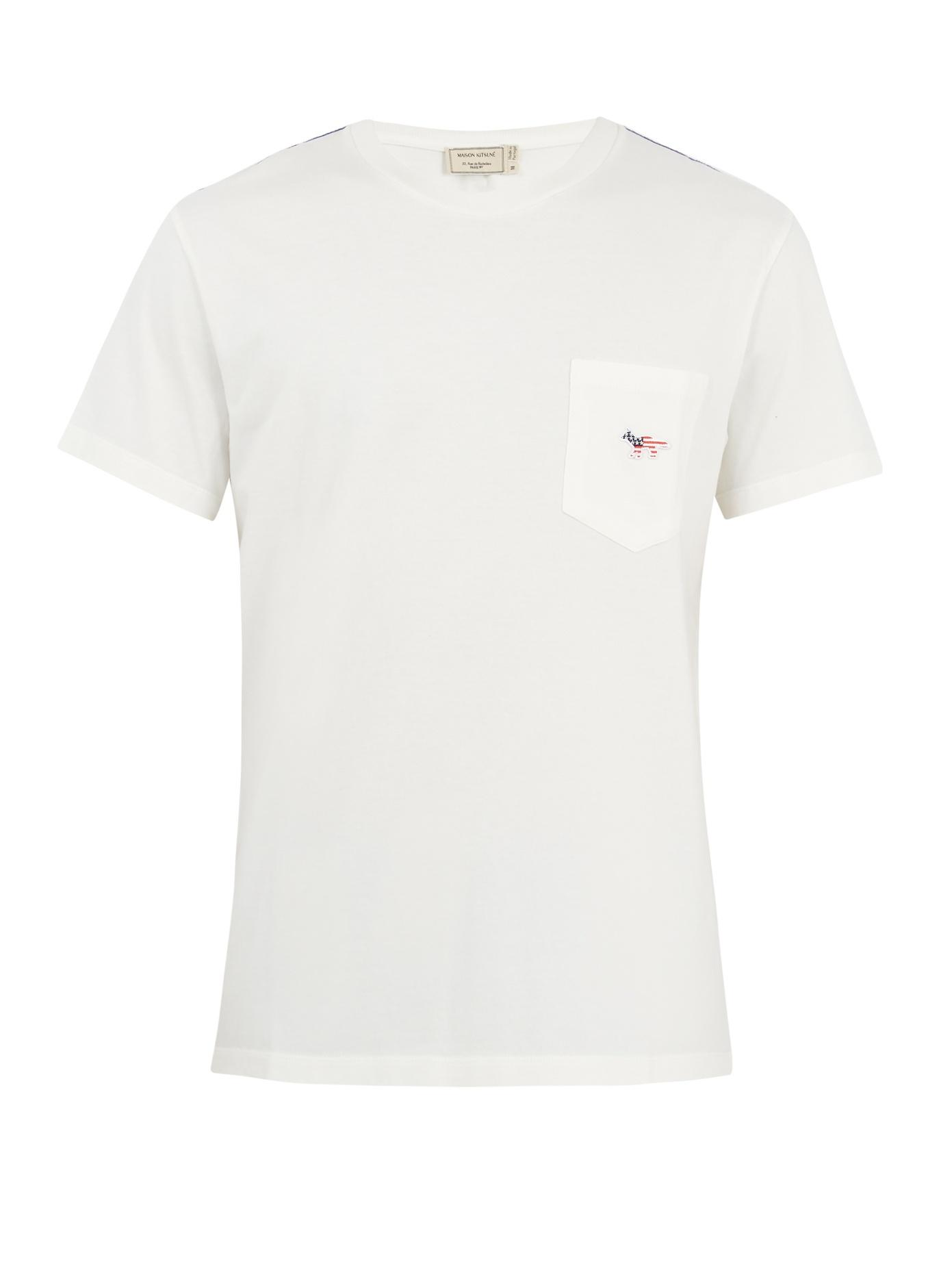 Maison KitsunÉ Patch-Pocket Cotton T-Shirt In White