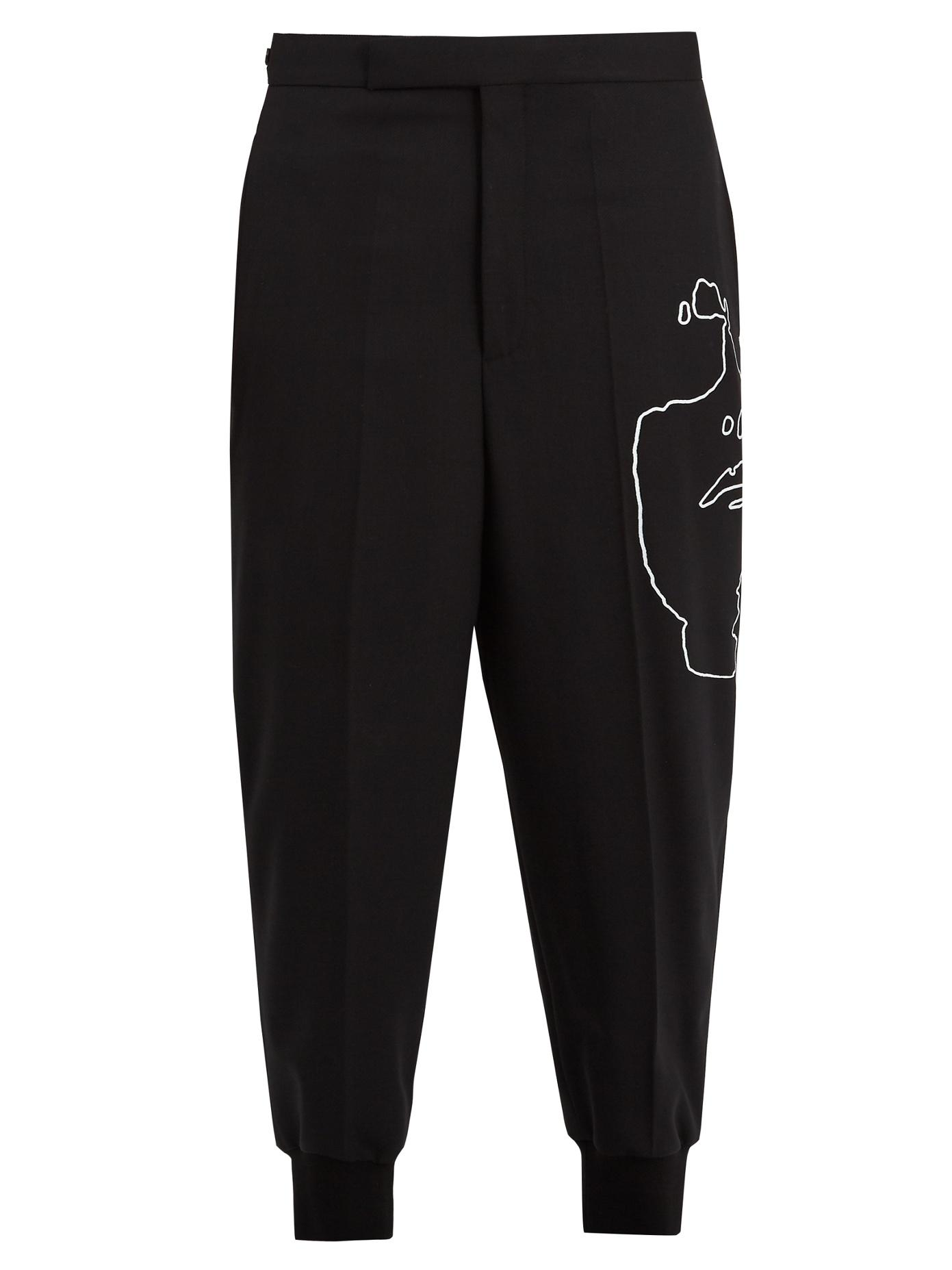 Neil Barrett Susie-Print Tapered-Leg Stretch-Wool Trousers In Black