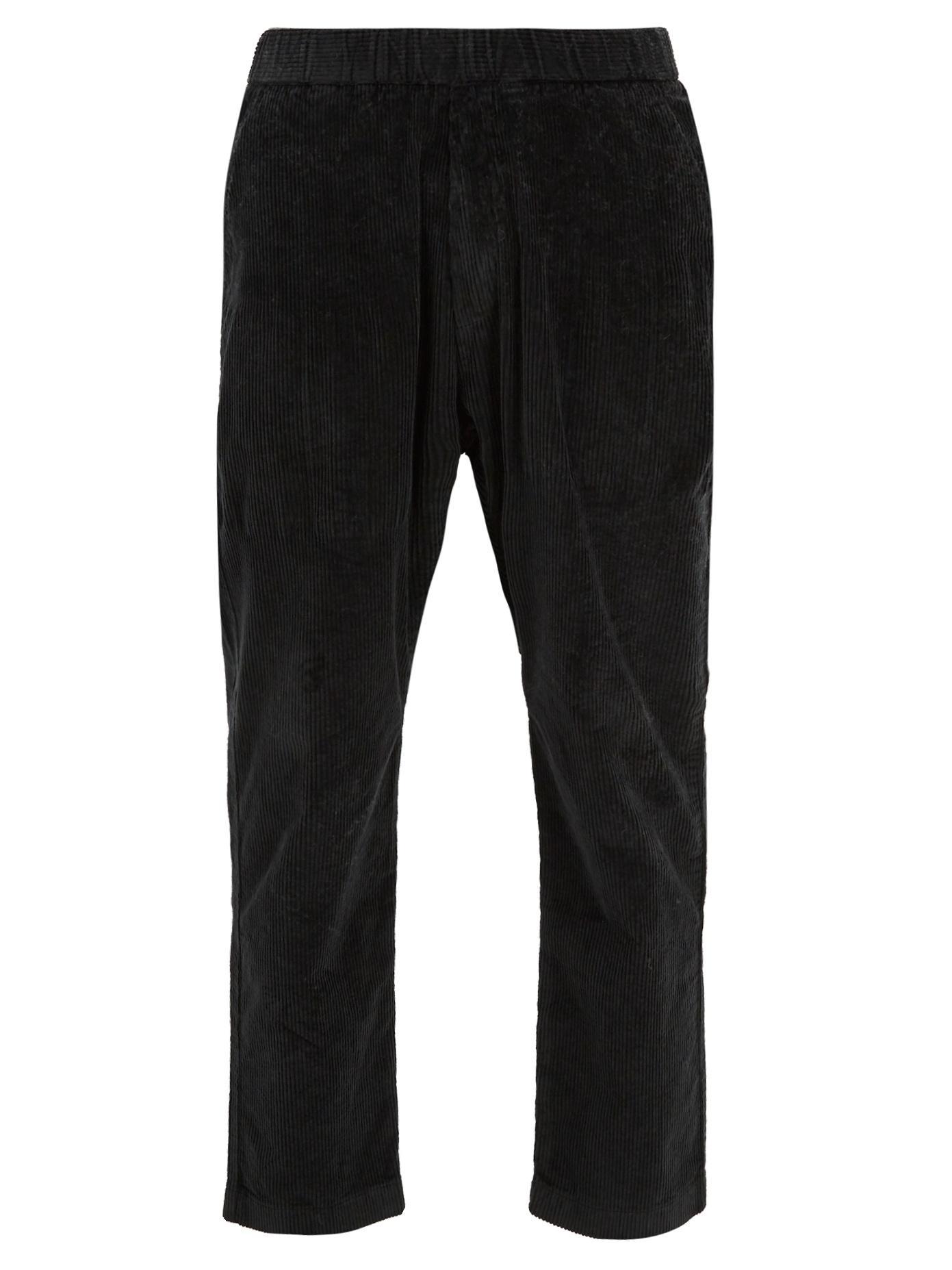 Barena Venezia Elasticated-Waist Cropped Stretch-Cotton Trousers In Black