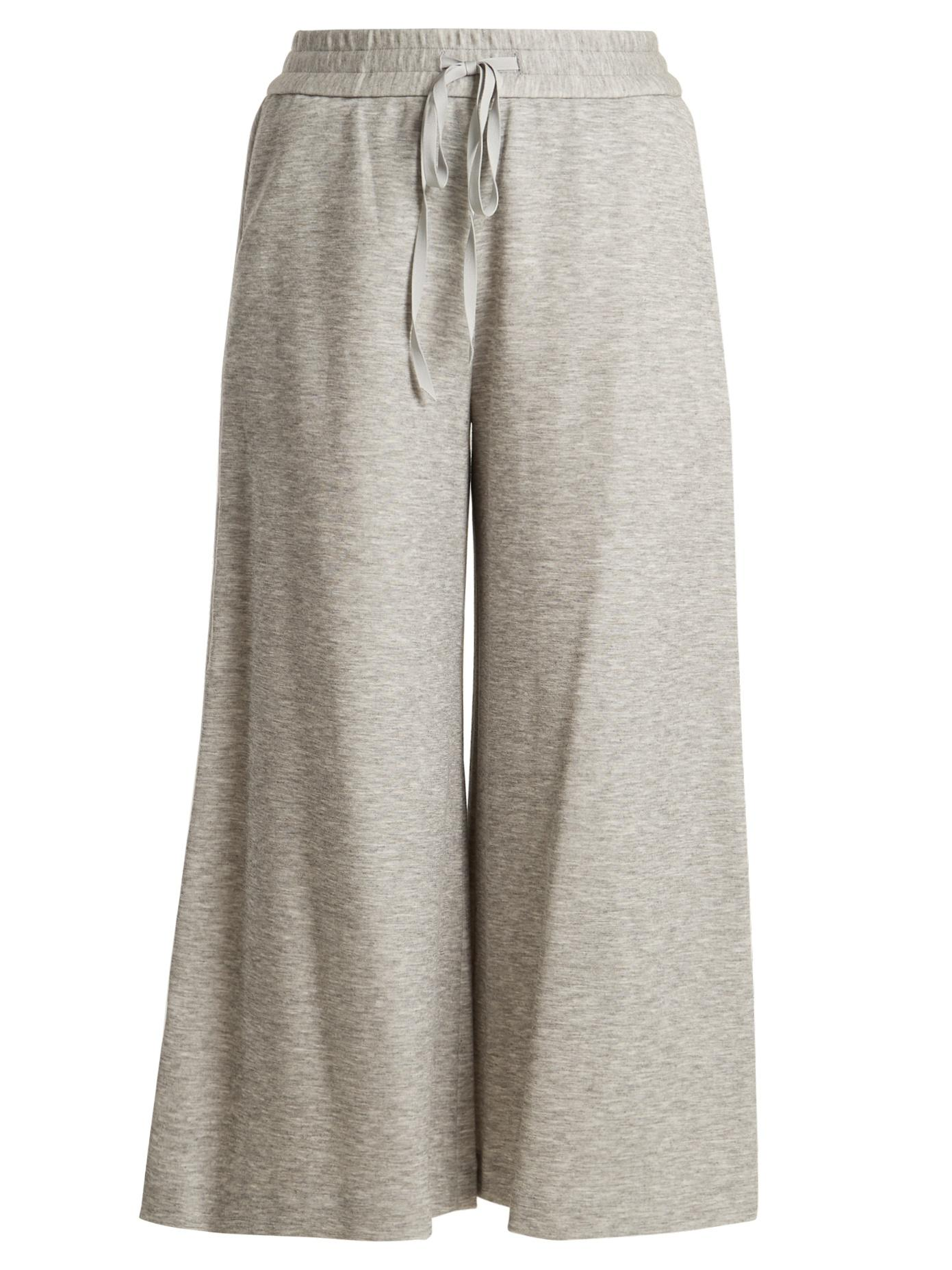 Adam Lippes Drawstring-Waist Jersey Culottes In Light Grey