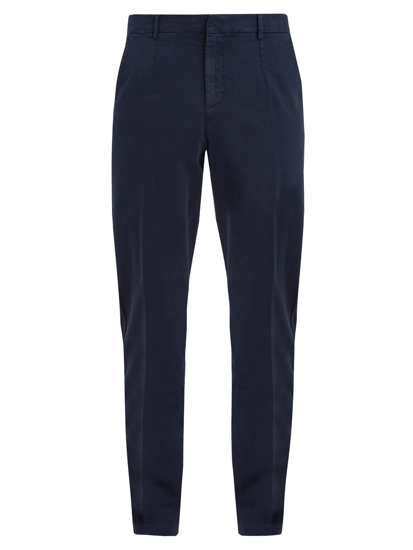 American Vintage Bullington Carrot-Fit Cotton-Blend Chino Trousers In Navy