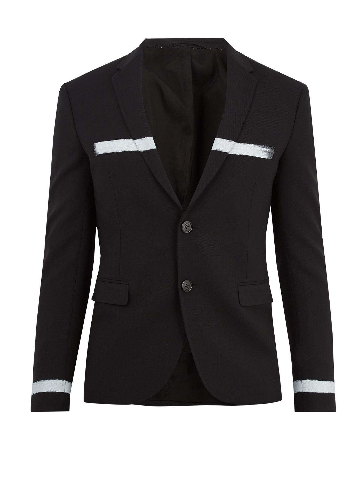 Neil Barrett Paint-Stroke Single-Breasted Stretch-Wool Blazer In Black