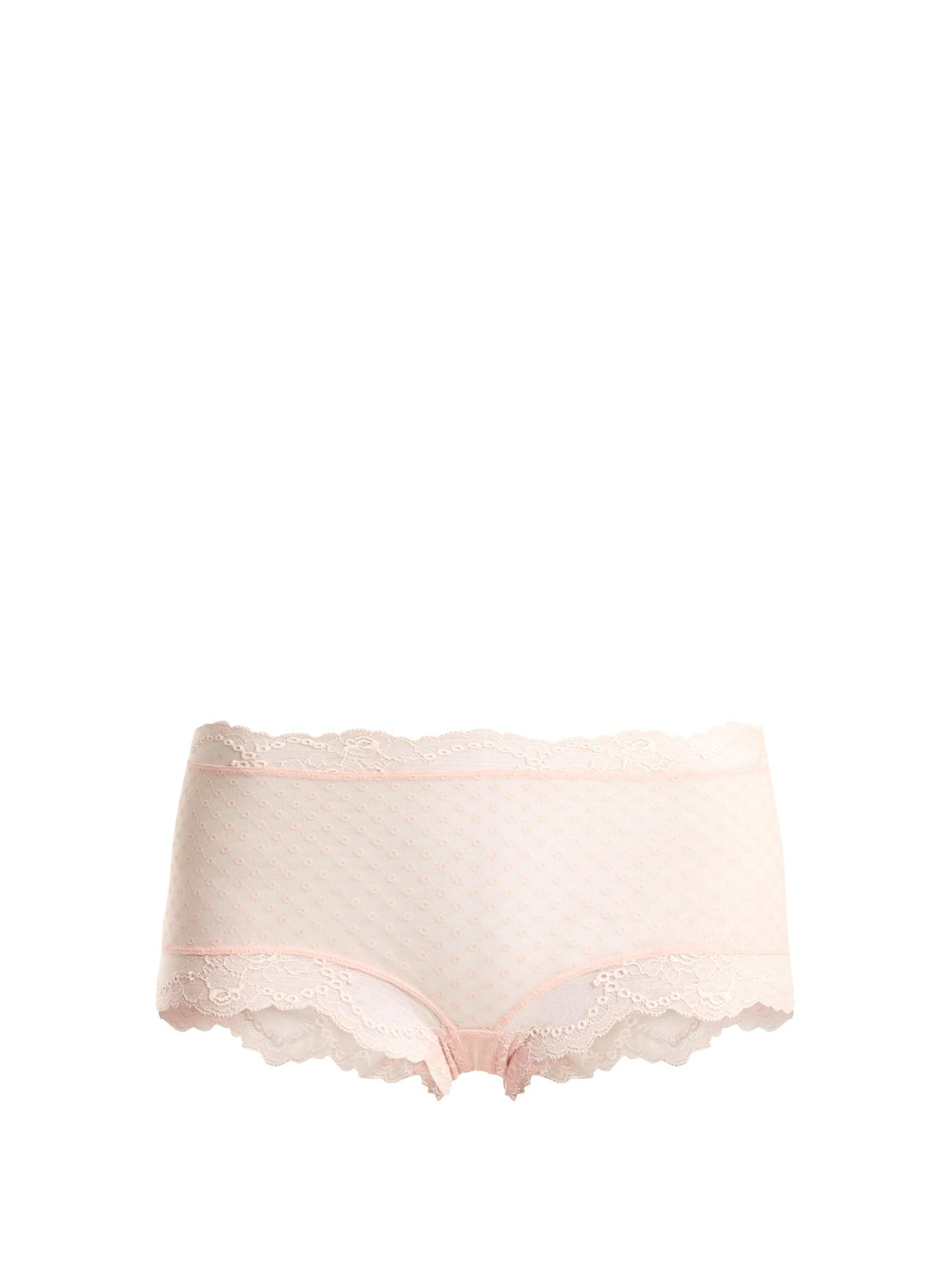La Perla Tuberose Lace Boy-Short Briefs In Light Pink