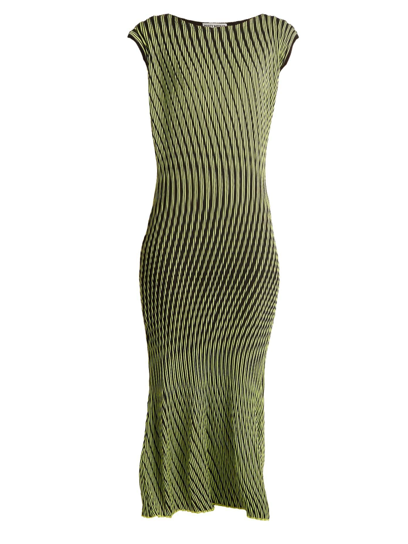 Issey Miyake Plasma 1 Waved Stripe-Pleated Midi Dress In Yellow Navy