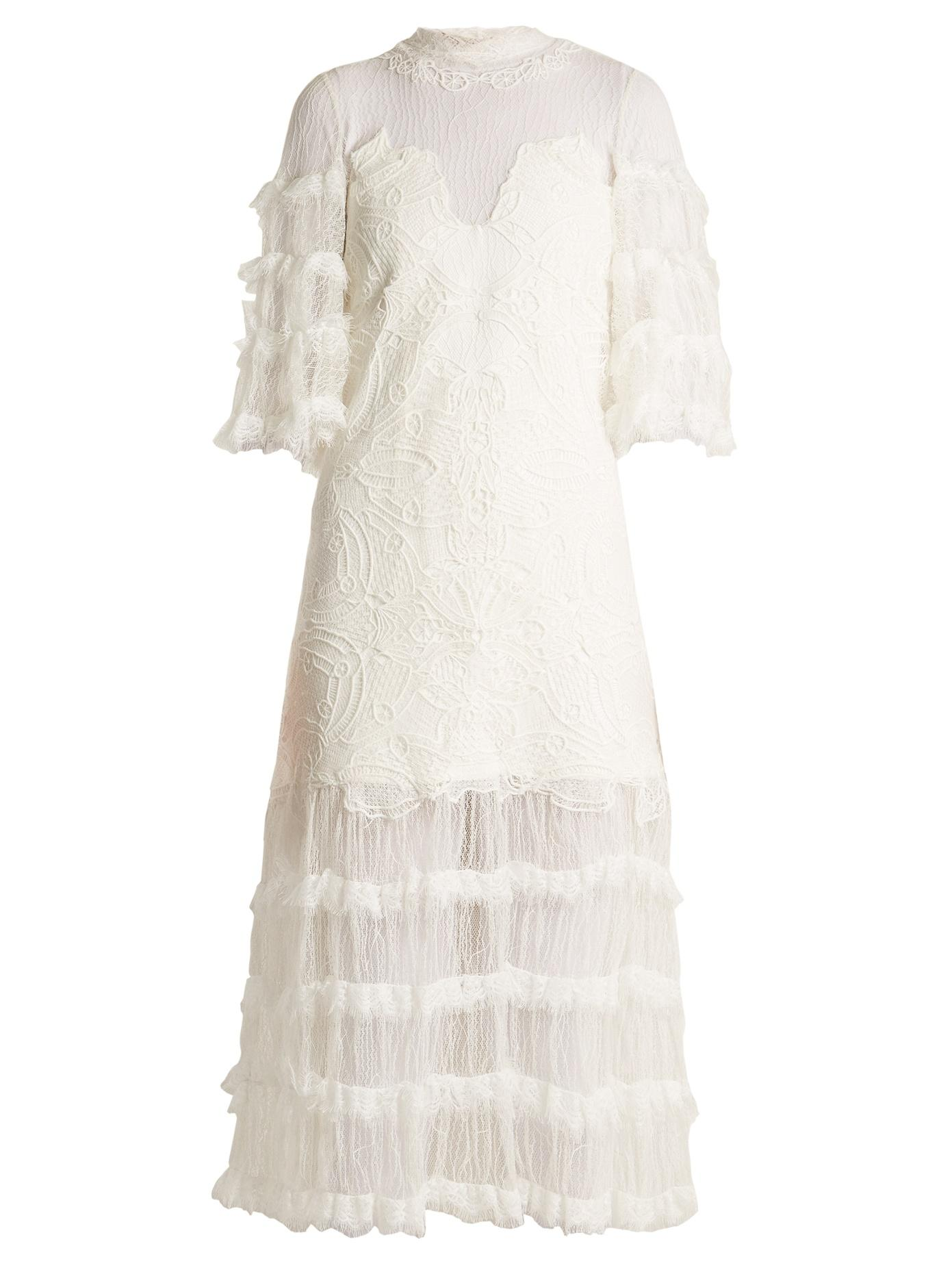 Jonathan Simkhai Contrast-Panel Tiered Lace Dress In White
