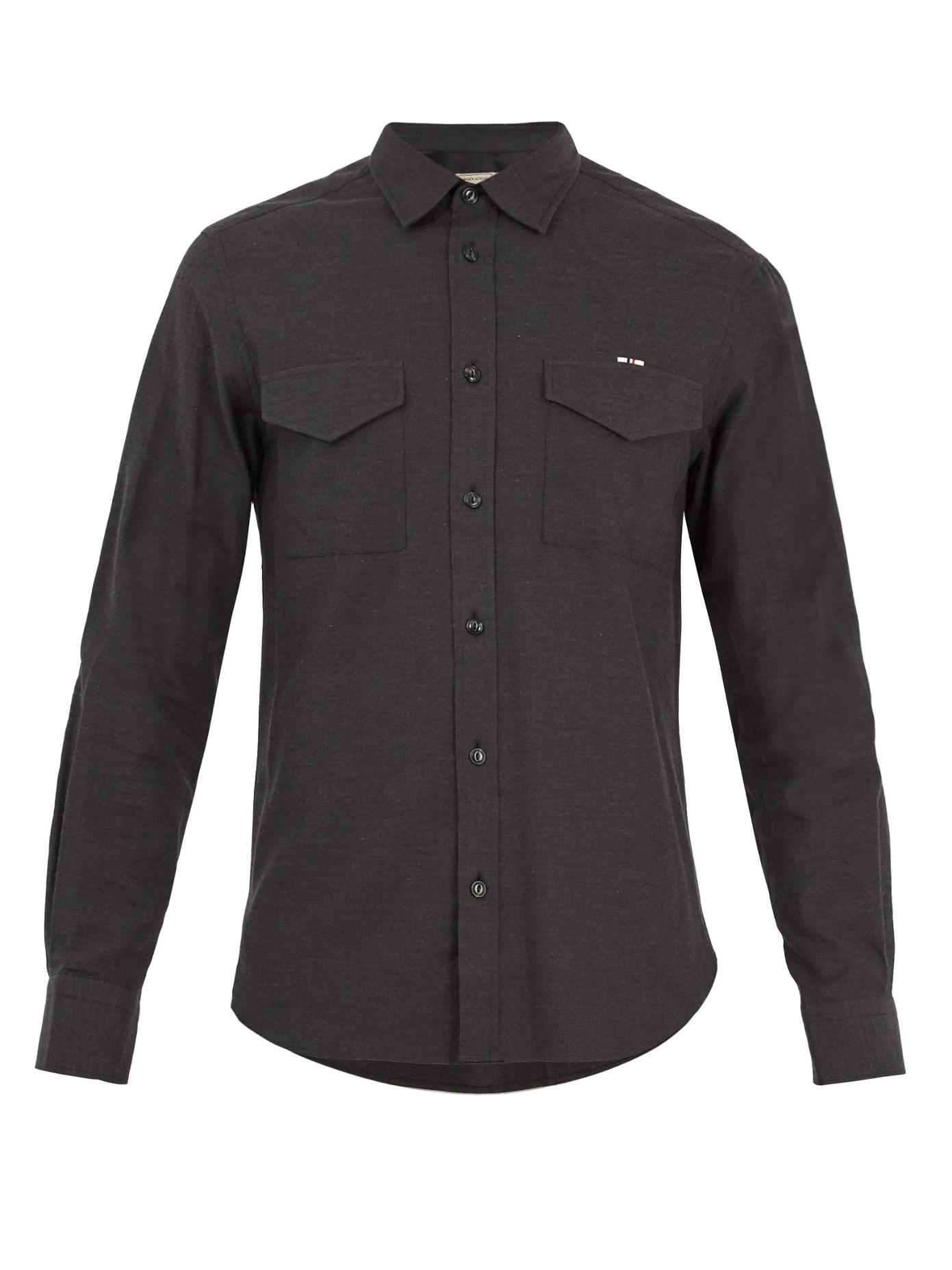 Maison KitsunÉ Single-Cuff Flapped-Pocket Cotton-Twill Shirt In Charcoal