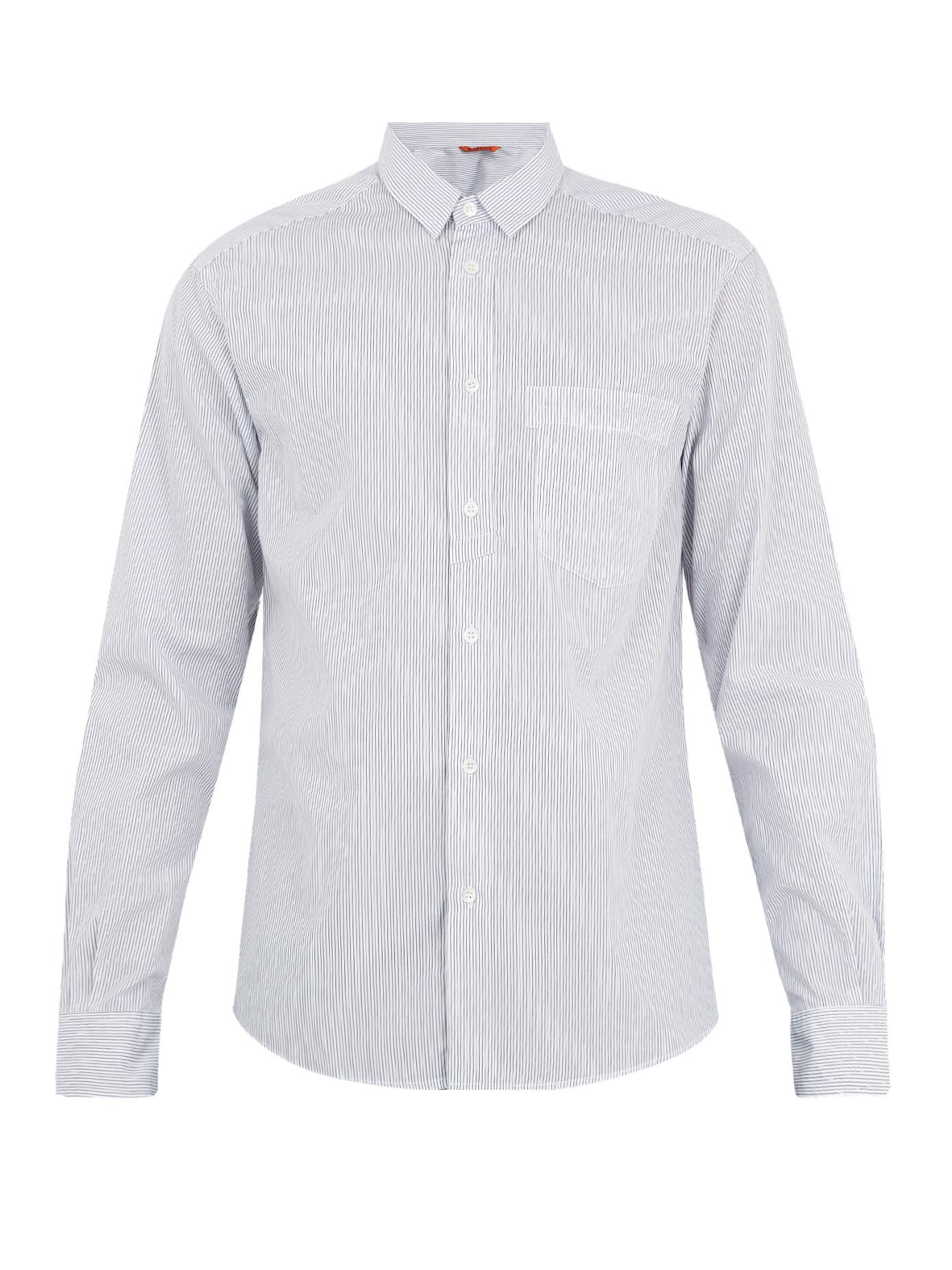 Barena Venezia Striped Single-Cuff Cotton-Poplin Shirt In Blue Stripe