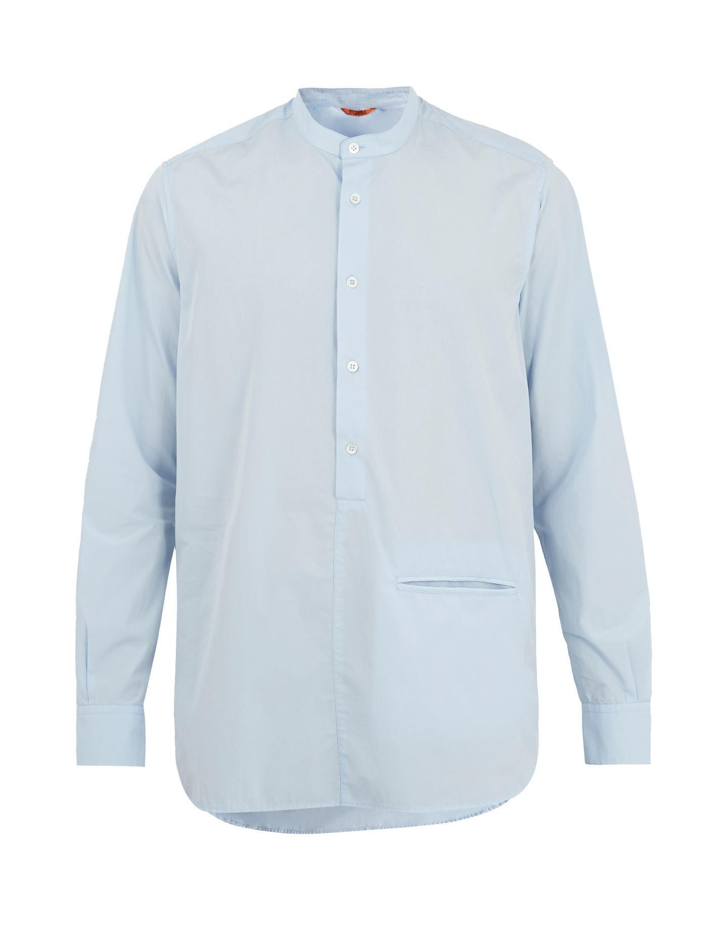 Barena Venezia Stand-Collar Single-Cuff Cotton-Poplin Shirt In Light Blue