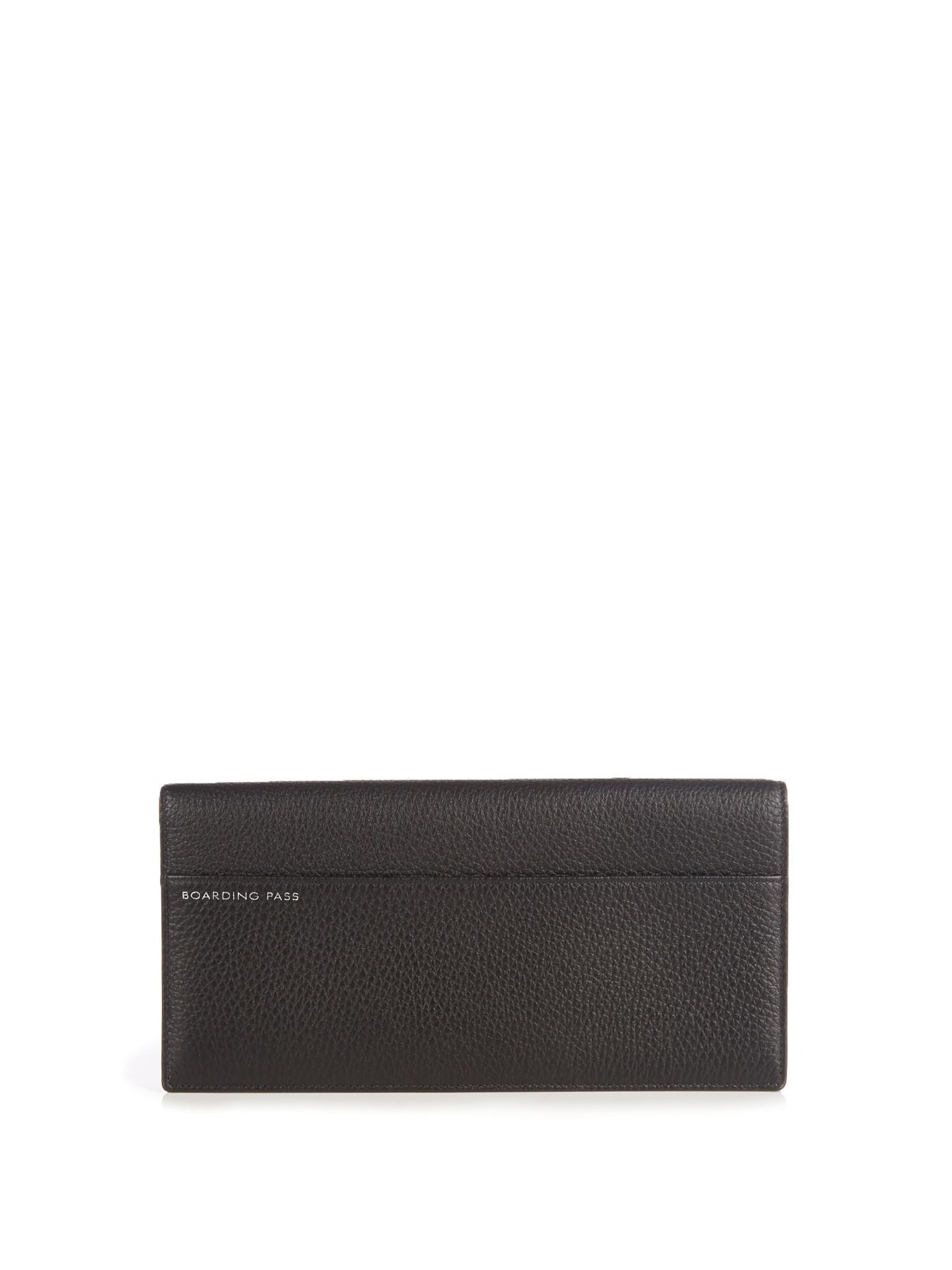 Smythson Burlington Grained-Leather Travel Wallet In Black