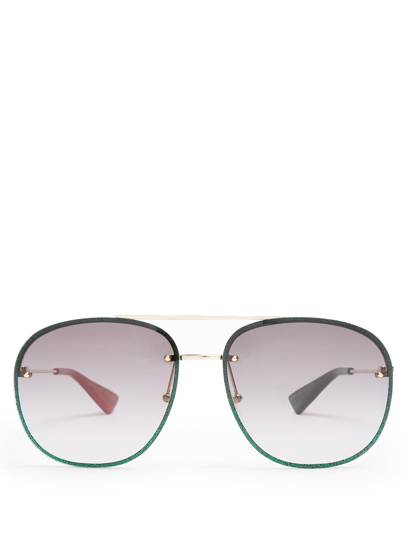 e6c07ea359a2d Gucci Glitter Aviator Sunglasses In Grey Multi