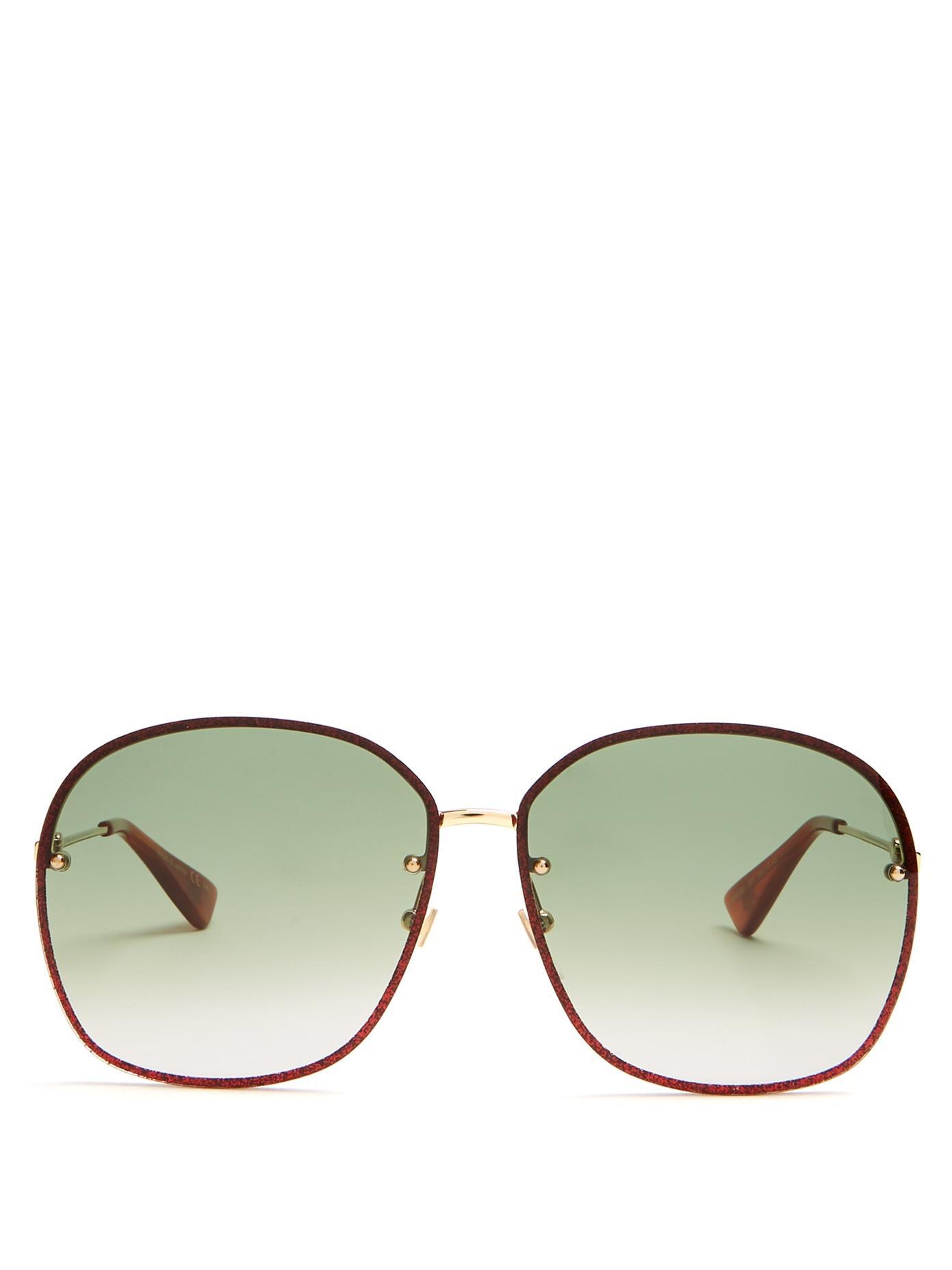 Gucci Glitter-Embellished Sunglasses In Gold Multi