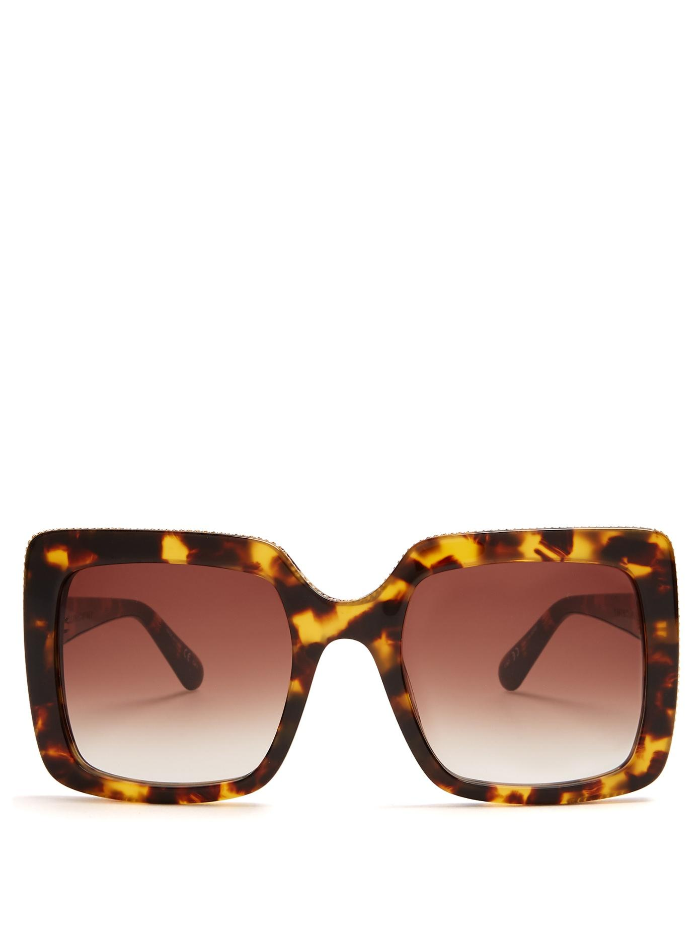 Stella Mccartney Falabella Square-Frame Sunglasses In Tortoiseshell