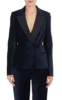 A.L.C Stanton Velvet Double-Breasted Blazer In Multi