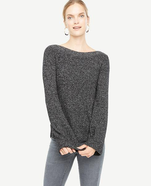 Ann Taylor Fluted Sleeve Boatneck Sweater In Black