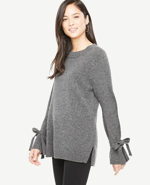 Ann Taylor Petite Wool Cashmere Tie Sleeve Sweater In Heather Silver Lake Grey