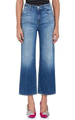 J Brand Joan High-Rise Wide-Leg Crop Jeans In Mimic In Md. Blue