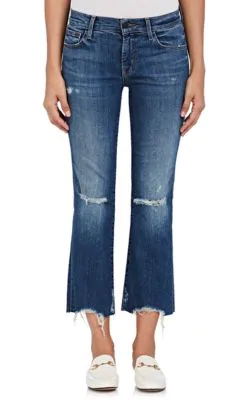 J Brand Woman Selena Cropped Distressed Mid-Rise Bootcut Jeans Mid Denim In Md. Blue