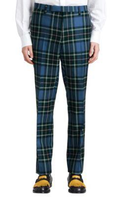 Burberry Wool Tartan Slim Trousers In Blue