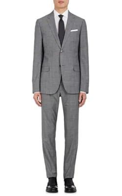 Gucci Monaco Glen Plaid Wool Two-Button Suit In Gray