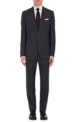 Gucci Monaco Striped Wool Two-Button Suit In Gray