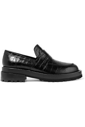 Marni Woman Croc-Effect Leather Loafers Black