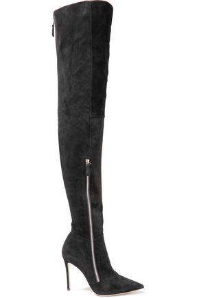 Gianvito Rossi Woman Suede Thigh Boots Black