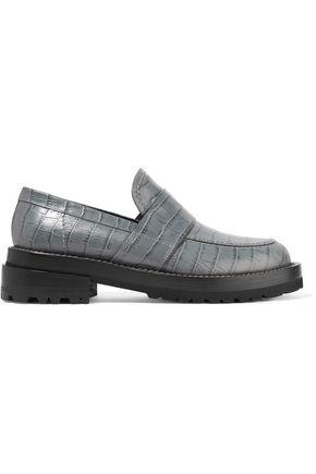Marni Woman Croc-Effect Leather Loafers Anthracite