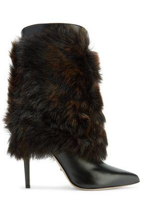 Sergio Rossi Woman Layered Shearling And Leather Boots Dark Brown