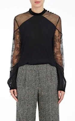A.L.C Laurel Combo Blouse In Black