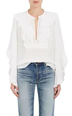 A.L.C Mendel Ruffle Silk Blouse - White