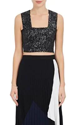 A.L.C Ali Sequin-Embellished Crop Top In Black