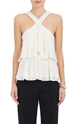 A.L.C Miro Ruffle Silk Sleeveless Blouse In White