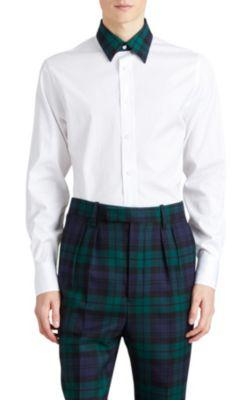 Burberry Cotton Poplin Sport Shirt W/ Tartan Check Details In White
