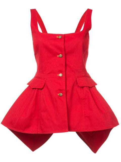Rosie Assoulin Junk In The Trunk Bustle Top In Red