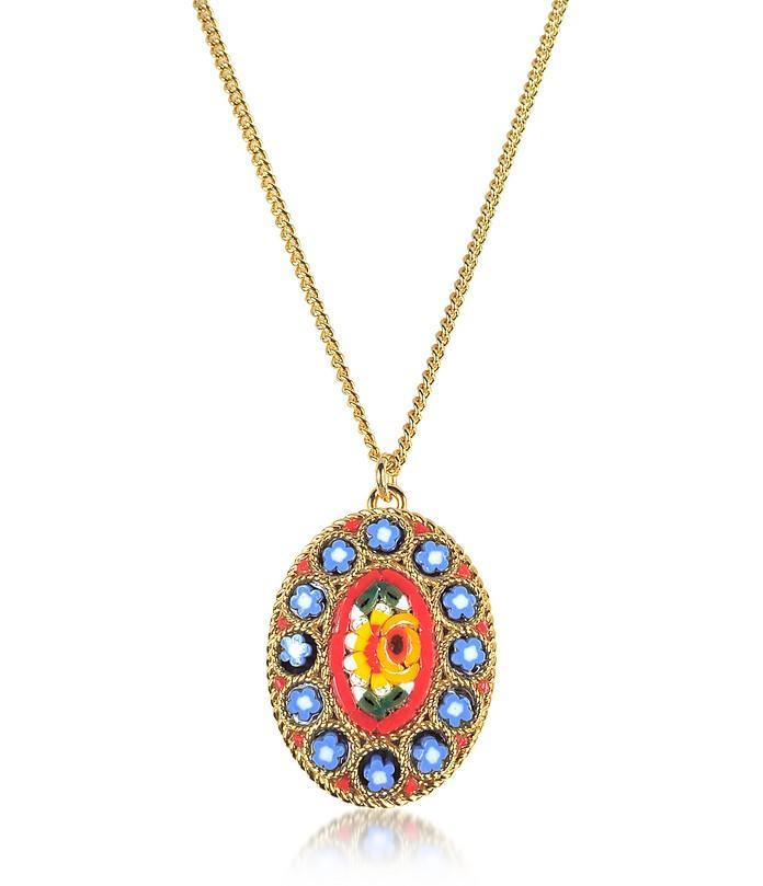 Dsquared2 Golden Mosaic Pendant Necklace