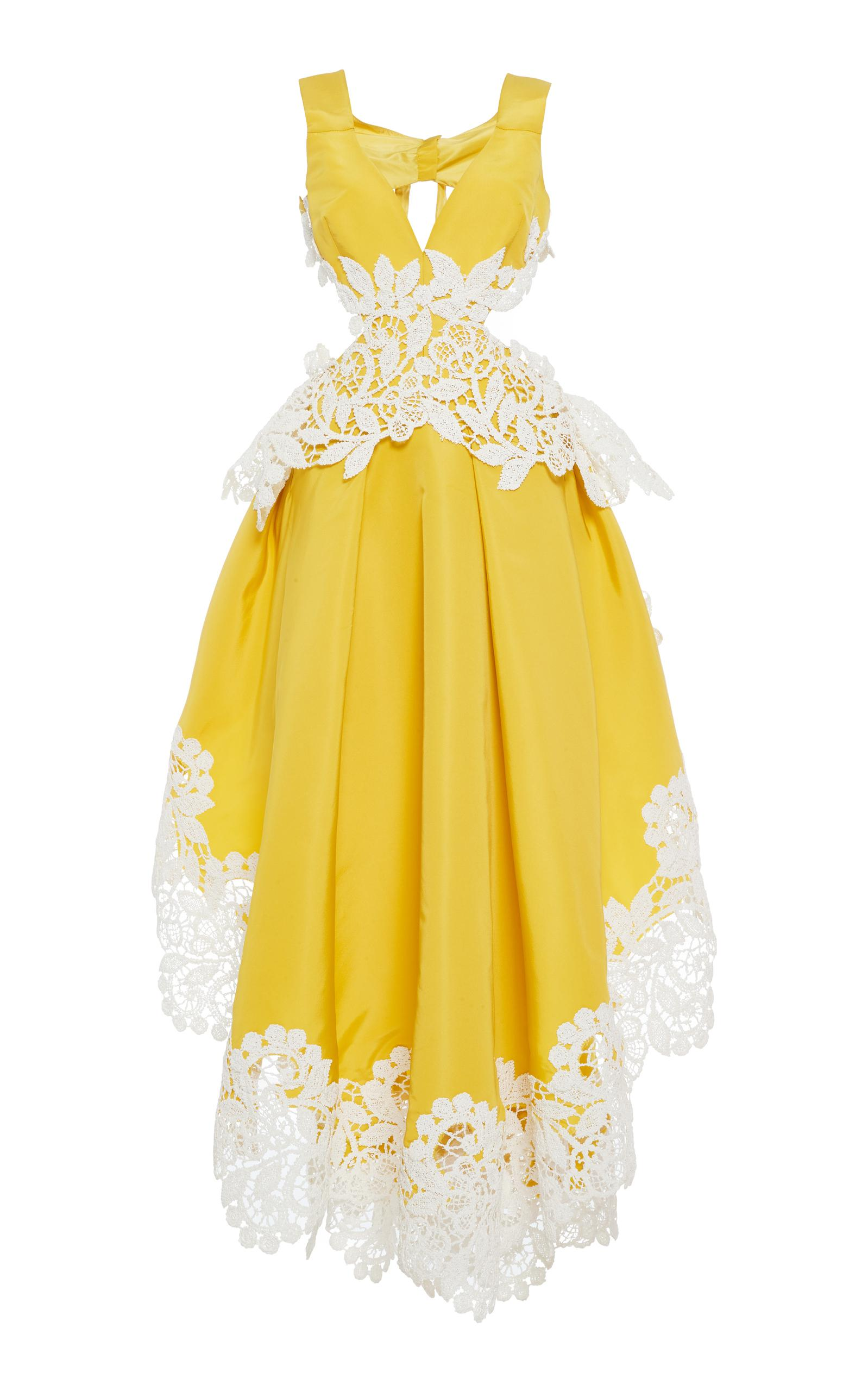 Rosie Assoulin Just Let Me Live Guipure Lace-Trimmed Silk-Faille Gown In Yellow