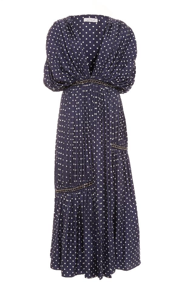 Gabriela Hearst Winston Deep-V Polka-Dot Shirred Silk Dress With Grommets Detail In Navy