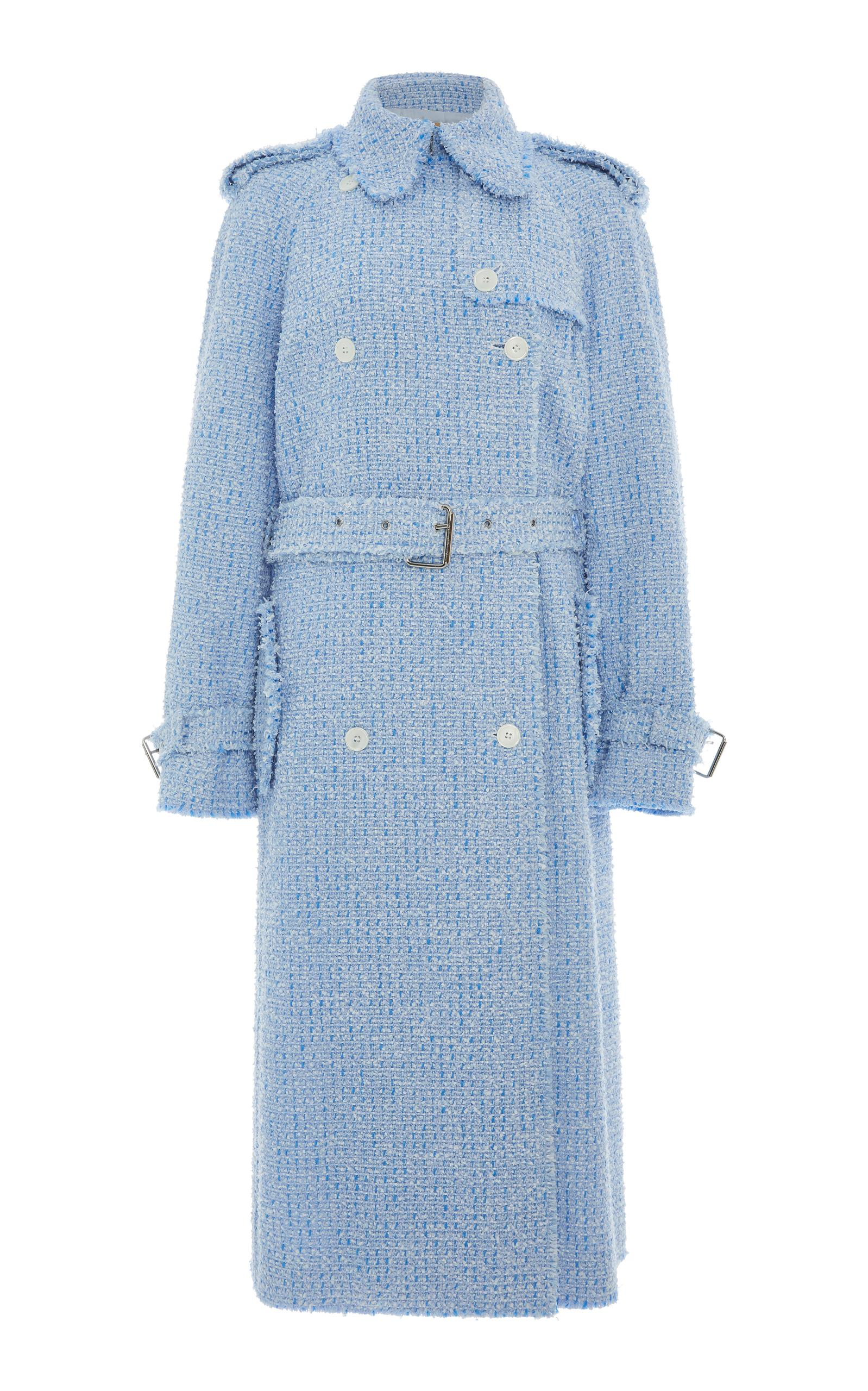 Michael Kors Button-Front Tweed Trench Coat In Blue