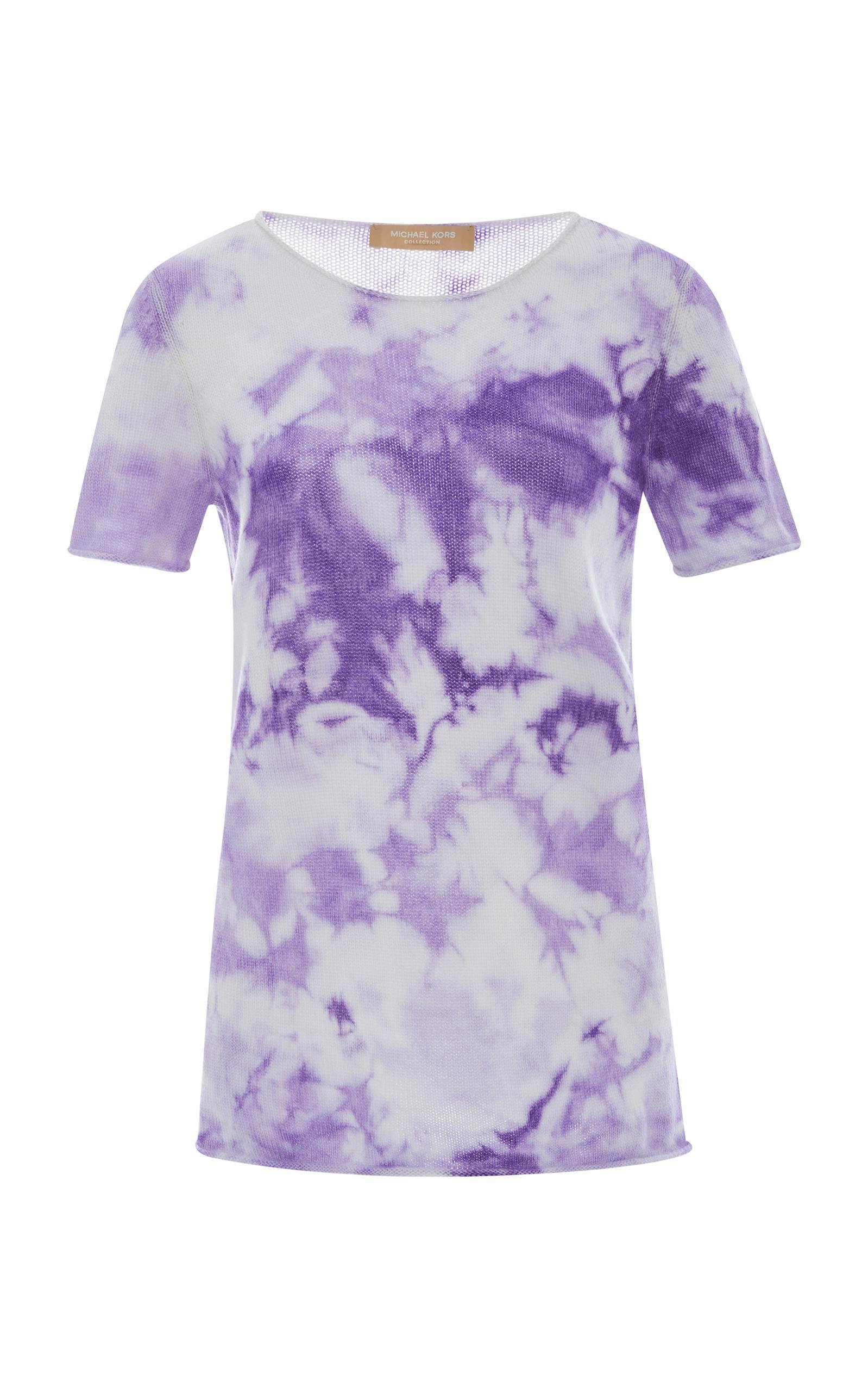 Michael Kors Short-Sleeve Tie-Dye Sweater In Purple