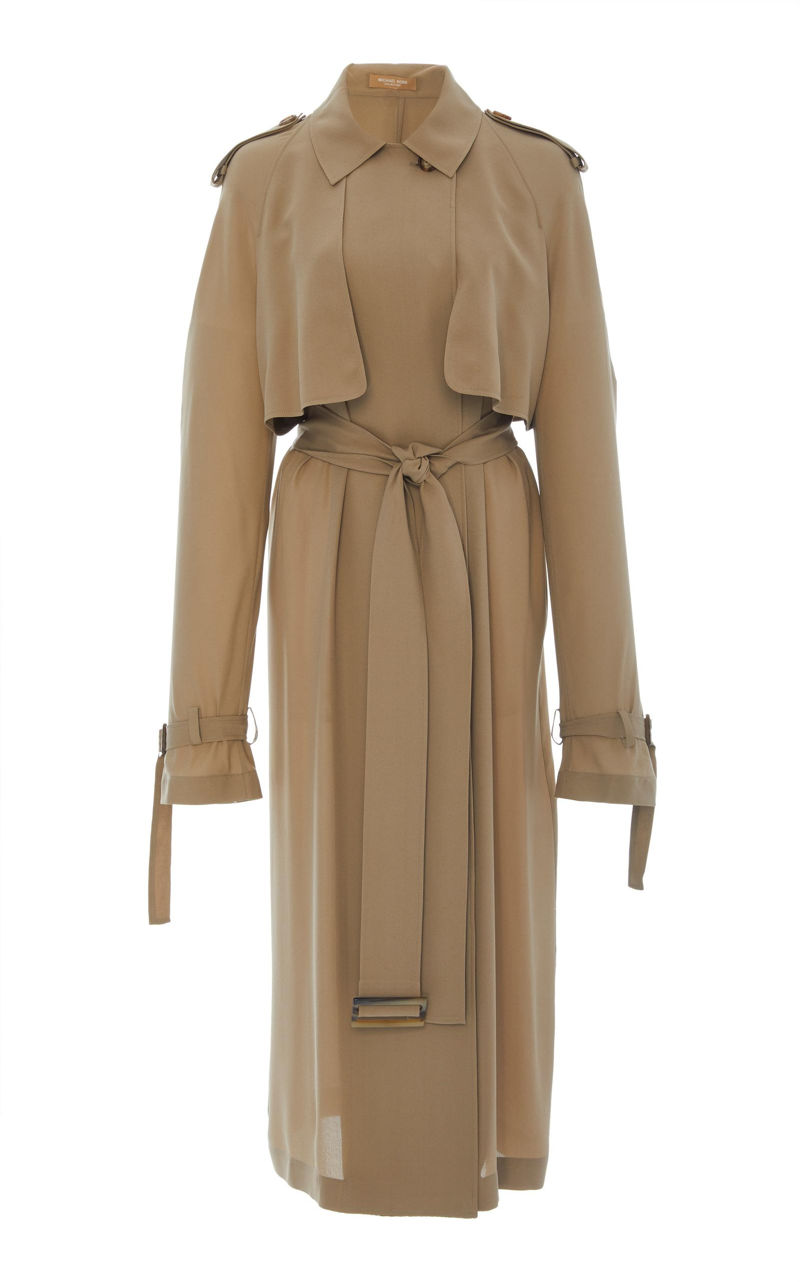 Michael Kors Silk Trench Dress With Belt In Neutral