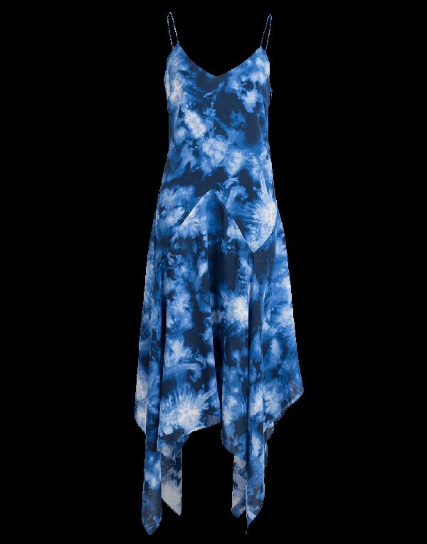 Michael Kors Asymmetric Tie-Dye Silk Midi Dress In Maritime