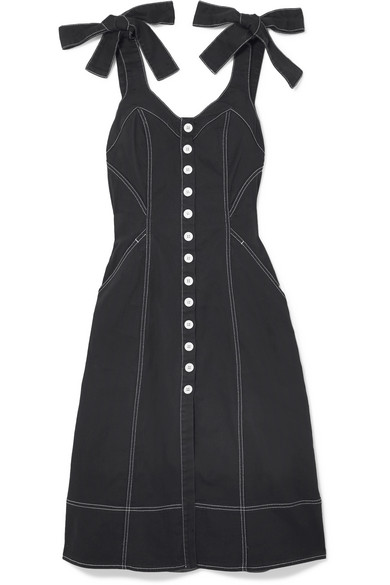 Ulla Johnson Emory Topstitched Denim Button-Down Dress - Black