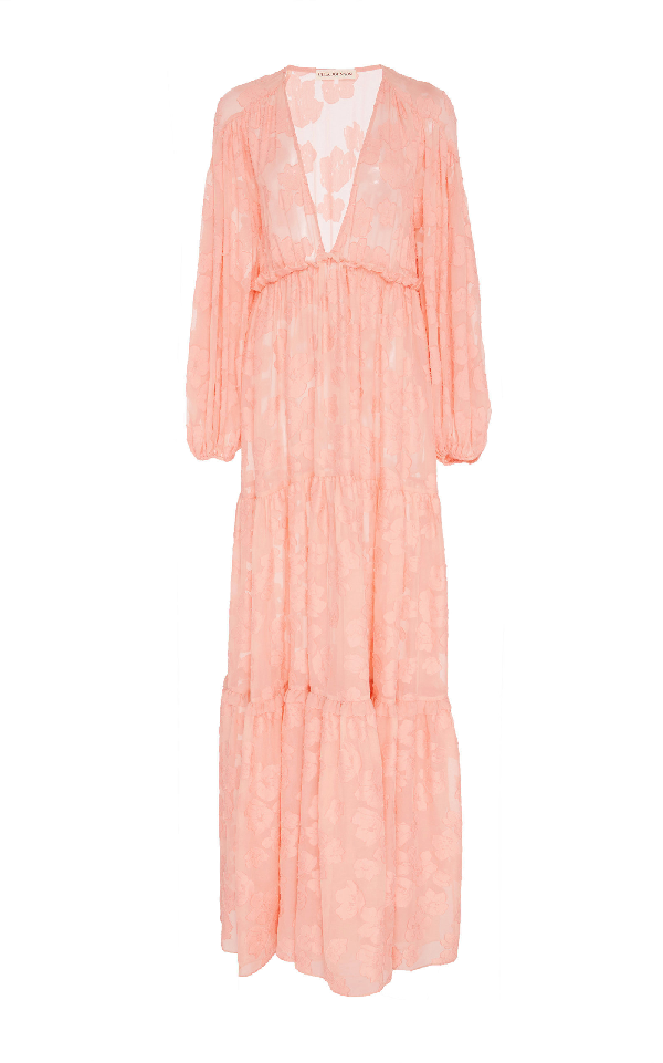 Ulla Johnson Margaux Cold Shoulder Silk And Cotton-Blend Dress In Pink