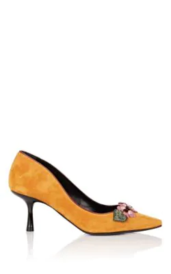 Fabrizio Viti Be My Valentine Suede Pumps In Dark Yellow